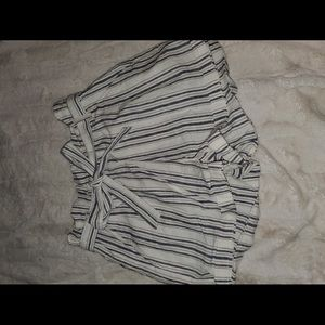 Blue and white stripped shorts with strap belt